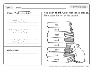 Sight Word (read): Sight Words Learning Mat - Printable Worksheet