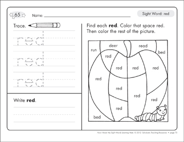 Sight Word (red): Sight Words Learning Mat - Printable Worksheet