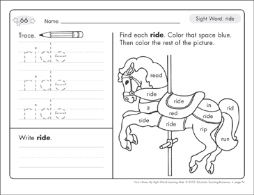 Sight Word (ride): Sight Words Learning Mat - Printable Worksheet