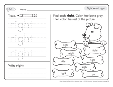 Sight Word (right): Sight Words Learning Mat - Printable Worksheet
