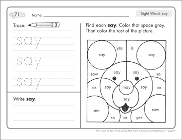 Sight Word (say): Sight Words Learning Mat - Printable Worksheet