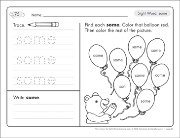 Sight Word (some): Sight Words Learning Mat - Printable Worksheet