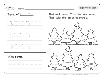 Sight Word (soon): Sight Words Learning Mat - Printable Worksheet