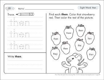 Sight Word (then): Sight Words Learning Mat - Printable Worksheet