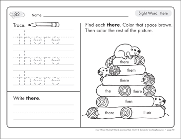 Sight Word (there): Sight Words Learning Mat - Printable Worksheet