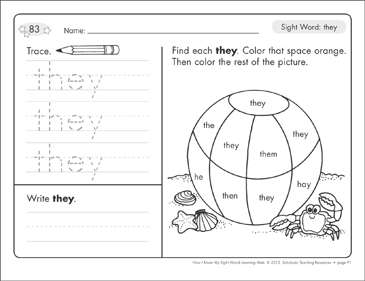 Sight Word (they): Sight Words Learning Mat - Printable Worksheet