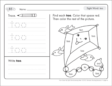 Sight Word (too): Sight Words Learning Mat - Printable Worksheet