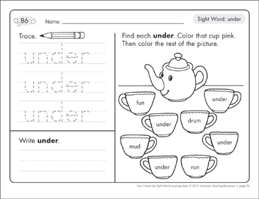 Sight Word (under): Sight Words Learning Mat - Printable Worksheet