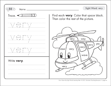 Sight Word (very): Sight Words Learning Mat - Printable Worksheet