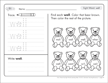 Sight Word (well): Sight Words Learning Mat - Printable Worksheet