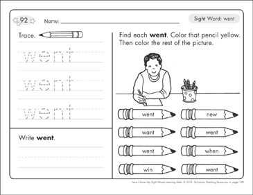 Sight Word (went): Sight Words Learning Mat - Printable Worksheet