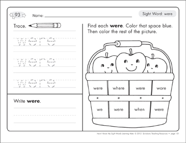 Sight Word (were): Sight Words Learning Mat - Printable Worksheet