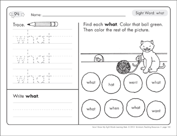 Sight Word (what): Sight Words Learning Mat - Printable Worksheet