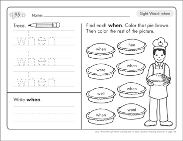 Sight Word (when): Sight Words Learning Mat - Printable Worksheet