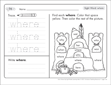 Sight Word (where): Sight Words Learning Mat - Printable Worksheet