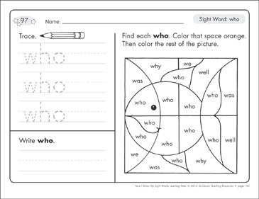 Sight Word (who): Sight Words Learning Mat - Printable Worksheet