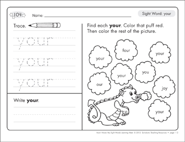 Sight Word (your): Sight Words Learning Mat - Printable Worksheet