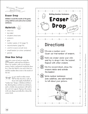 Eraser Drop (Writing Number Sentences): Addition & Subtraction Shoe Box Learning Center - Printable Worksheet