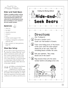 Hide-and-Seek Bears: Addition & Subtraction Learning Center - Printable Worksheet