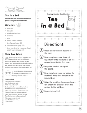 Ten in a Bed (Creating Number Combinations): Addition & Subtraction Shoe Box Learning Center - Printable Worksheet