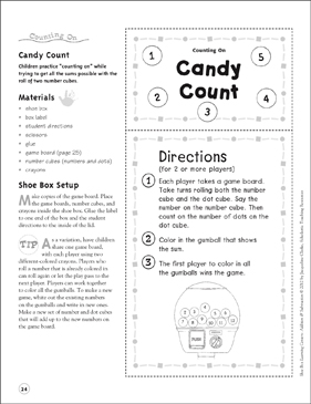 Candy Count (Counting On): Addition & Subtraction Shoe Box Learning Center - Printable Worksheet