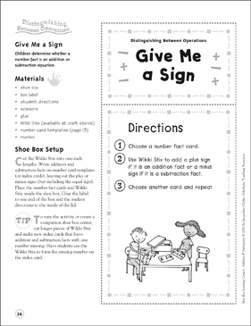 Give Me a Sign (Distinguishing Between Operations): Addition & Subtraction Shoe Box Learning Center - Printable Worksheet