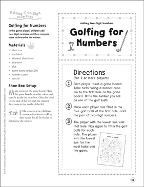 Golfing for Numbers (Adding Two-Digit Numbers): Addition & Subtraction Shoe Box Learning Center - Printable Worksheet
