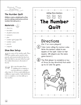 The Number Quilt (Adding Three Numbers): Addition & Subtraction Shoe Box Learning Center - Printable Worksheet