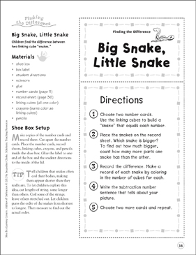 Big Snake, Little Snake (Finding the Difference): Addition & Subtraction Shoe Box Learning Center - Printable Worksheet