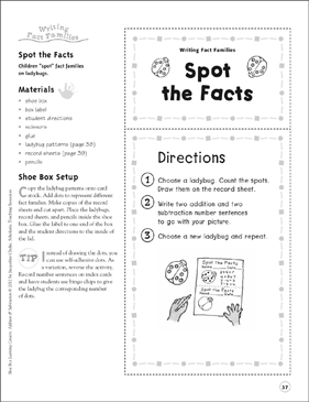 Spot the Facts (Writing Fact Families): Addition & Subtraction Shoe Box Learning Center - Printable Worksheet