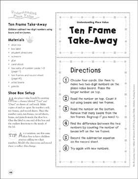 Ten Frame Take-Away (Understanding Place Value): Addition & Subtraction Shoe Box Learning Center - Printable Worksheet