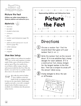 Picture the Fact (Representing Addition and Subtraction Facts): Addition & Subtraction Shoe Box Learning Center - Printable Worksheet