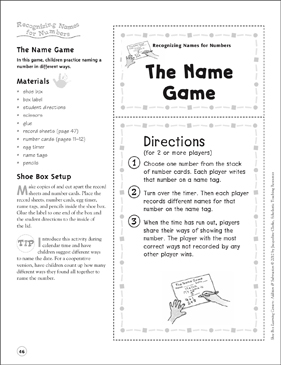 The Name Game (Recognizing Names for Numbers): Addition & Subtraction Shoe Box Learning Center - Printable Worksheet