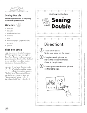 Seeing Double (Identifying Double Facts): Addition & Subtraction Shoe Box Learning Center - Printable Worksheet