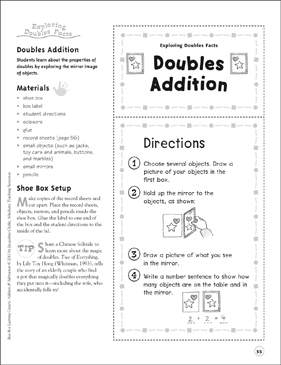 Doubles Addition (Exploring Double Facts): Addition & Subtraction Shoe Box Learning Center - Printable Worksheet