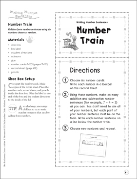 Number Train (Writing Number Sentences): Addition & Subtraction Shoe Box Learning Center - Printable Worksheet