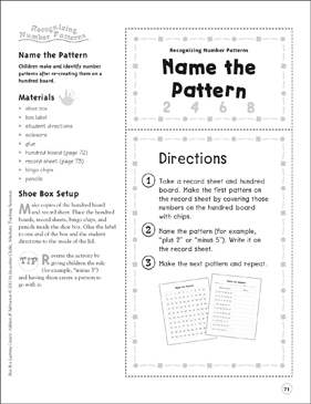 Name the Pattern (Recognizing Number Patterns): Addition & Subtraction Shoe Box Learning Center - Printable Worksheet