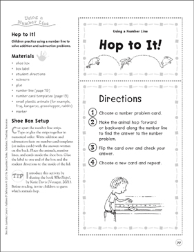 Hop to It! (Using a Number Line): Addition & Subtraction Shoe Box Learning Center - Printable Worksheet