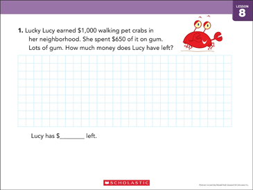 Subtraction (Within 10,000): Bar Model Math - Printable Worksheet