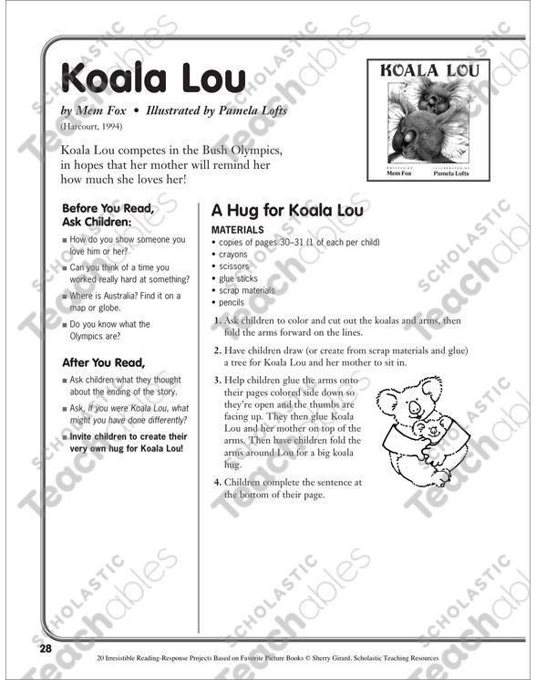 Koala Lou By Mem Fox A Reading Response Project Printable