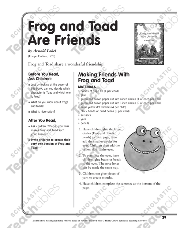 Frog And Toad Are Friends By Arnold Lobel A Reading Response