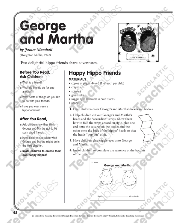 George And Martha By James Marshall A Reading Response Project Printable Lesson Plans And Ideas Craftivities