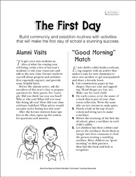 The First Day: Back-to-School Activities - Printable Worksheet