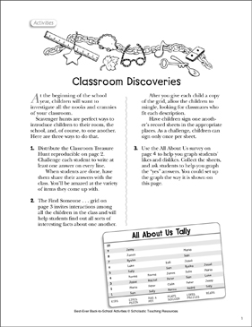 Classroom Discoveries: Back-to-School Activity - Printable Worksheet