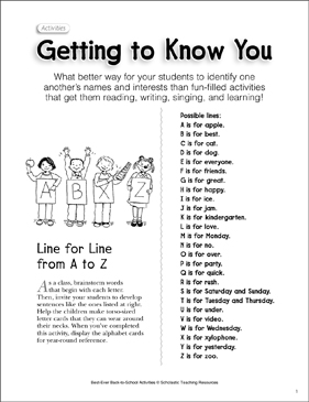 Getting to Know You: Back-to-School Activity - Printable Worksheet