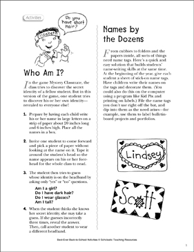 Who Am I?/Names by the Dozens: First Day Ideas - Printable Worksheet