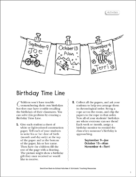 Birthday Time Line Activity - Printable Worksheet