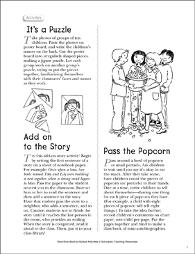 Community-Building Activities for Back to School - Printable Worksheet