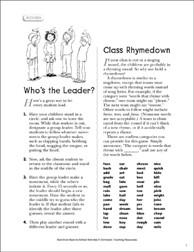 Who's the Leader?/Class Rhymedown: Class Community - Printable Worksheet