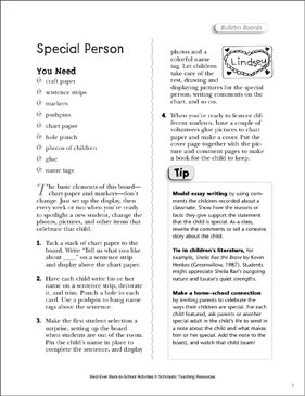 Special Person: Back-to-School Activity Idea - Printable Worksheet